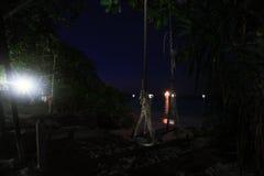 Night landscape in jungle. On island stock photo