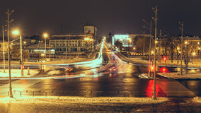 Night Landscape Kharkiv. Lights of city streets at winter Stock Image