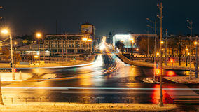 Night Landscape Kharkiv street. Lights of city streets Royalty Free Stock Photography