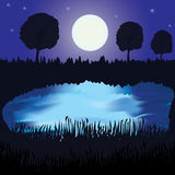 Night landscape with lake, full moon and forest Stock Image