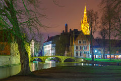 Night landscape at Lake Minnewater in Bruges Royalty Free Stock Photography