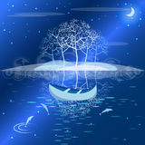 Night landscape lake in the moonlight Stock Image