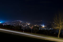 Night landscape with light trails Stock Image
