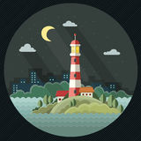 Night landscape. The lighthouse on the background of the city. F Stock Photo