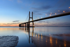 Night landscape of Lisbon Bridge at sunrise Stock Photography