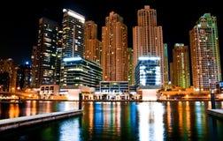 Night landscape metropolis. In Dubai, UAE Royalty Free Stock Photo