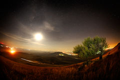 Night landscape with the Milky Way above the fields Royalty Free Stock Images