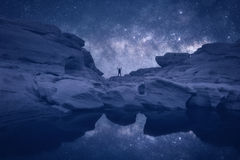 Night landscape with Milky Way. Royalty Free Stock Image