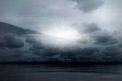 Night landscape - misty light. Night 3d graphics landscape -  misty light in skies Royalty Free Stock Image