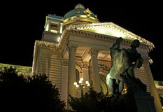 Night landscape of monumental entrance to the National Assembly of Serbia Royalty Free Stock Photography