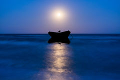 Night Landscape with Moon and Boat Stock Image