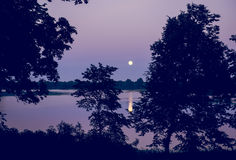 Night landscape of moon and lake Royalty Free Stock Photo