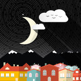 Night Landscape with Moon vector illustration
