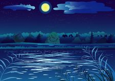Night landscape. With the Moon and pond Stock Photo