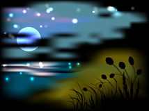 Night landscape with moon and stars Stock Photo