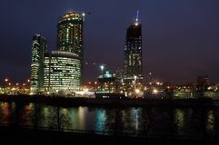 Night landscape of Moscow. Night scenery of building Moscow City Royalty Free Stock Image