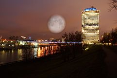 Night landscape of Moscow. Night scenery of building Moscow City with Moon Royalty Free Stock Photo