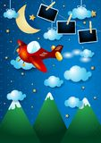 Night landscape with mountains, airplane and photo frames. Vector illustration eps10 royalty free illustration