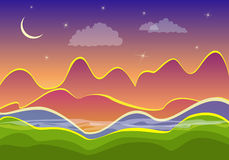 Night landscape, mountains and crescent Stock Image