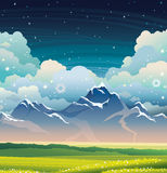 Night landscape - mountains, grass and flowers. Stock Photography