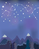 Night landscape with mountains and trees Stock Image