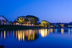 Night landscape in the Nam Song River at Vang Vieng, Laos.  Stock Photography