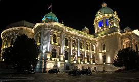 Night landscape of National Assembly of Serbia Stock Image