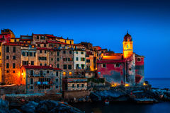 Night landscape with old scenic sea village Stock Image