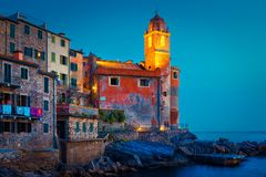 Tellaro in Ligurian province, Italy. Night landscape with old scenic sea village, Tellaro in Ligurian province, Italy stock photo