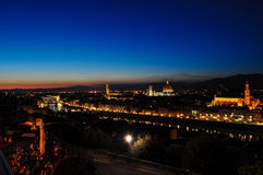 Night Landscape over Florence. From Piazza Michaelangelo Stock Images