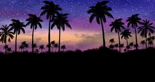 Night landscape with palm trees, against the backdrop of a neon sunset stock illustration