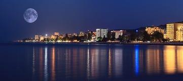 Night landscape panorama sea hotels lights Stock Image