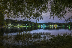 Night landscape in park with pond Royalty Free Stock Photography