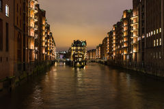 The night landscape on the river in Hamburg,Germany Stock Photography