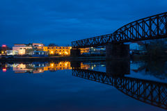The night landscape on the river in Hamelin,Germany Stock Photo