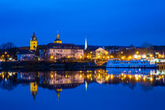 The night landscape on the river in Hamelin,Germany Stock Images