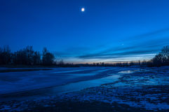 Night landscape river ice Royalty Free Stock Photos