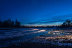 Night landscape river ice Royalty Free Stock Images