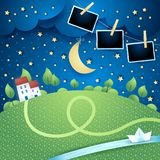Night landscape with river and photo frames. Vector illustration eps10 stock illustration