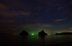 Night landscape - rocks in Krabi, Thailand Stock Photo