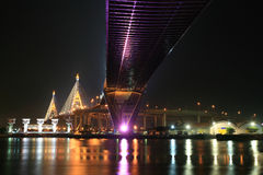 Night landscape scene of Bhumibol bridge Stock Photos