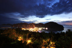 Night landscape sea bay Royalty Free Stock Image