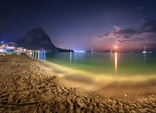 Night landscape at the seashore with lunar path. Seascape Royalty Free Stock Photo