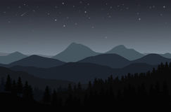 Night landscape with silhouettes of mountains, hills and forest. And stars in the sky - vector illustration Stock Photos