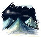 Night landscape sketch vector illustration Royalty Free Stock Photography
