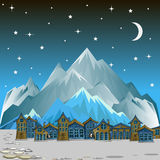 Night landscape with snow-capped mountains Stock Photo