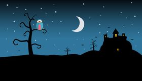 Night Landscape with Spooky Castle and Owl on Tree vector illustration