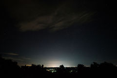 Night Landscape with star field over Udonthani town Royalty Free Stock Photo