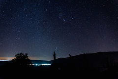 Night landscape with starry sky in El Torno, Jertes Valley, Cace. Res, Extremadura royalty free stock photography