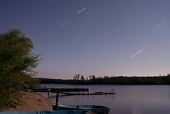Seliger lake: night stars Stock Photo